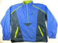 VTG 90s Nike Tracksuit Jacket L Large Windbreaker Hood Swoosh Blue Black Green