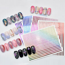 5 Sheets 3D Nail Sticker Striping Tape Line Laser Adhesive Strip Foil Decals DIY