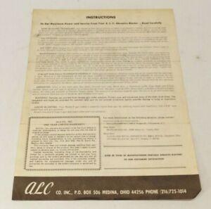 1976 A.L.C. Abrasive Blaster Instructions - F Model