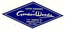"Sticker / Decal ""GORDON WOODS CUSTOM SURFBOARDS"" SURFING 1960's Retro Woody"