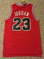 NWT Throwback Chicago Bulls Michael Jordan 23 Retro Red Rookie Men's Jersey
