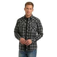 Wrangler Rock 47 Men's Black & White Plaid Snap Up Western Shirt MRC371M