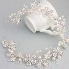 Crystal Hair Vine Silver Headdress Pearls Bridal Headpiece Wedding Accessories
