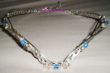 GWEN SILVER & AQUA BLUE GLASS CELTIC FANTASY CIRCLET ADJUSTABLE LARP REN MERLIN
