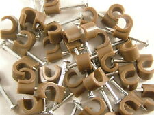 50 Pack of Brown TV Aerial, Sky & Satellite 7mm Round Cable Clips, RG6, WF100
