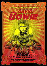 Reproduction David Bowie Concert Poster, Ziggy Stardust, Nashville