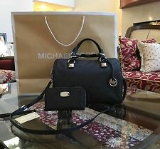 NWT, MICHAEL KORS GRAYSON MONOGRAM LARGE SATCHEL/CROSSBODY HANDBAG+WALLET $516