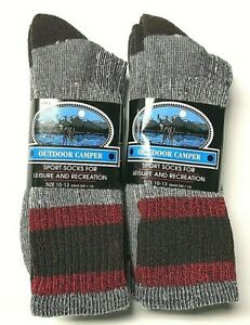 2 or 6 Pair Men Premium Acrylic & Merino Wool Work Gray Crew Sock SZ 10-13.