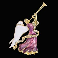 Hot Christmas Xmas Angel Wring Crystal Rhinestone Brooch Pin Bouquet Jewellery