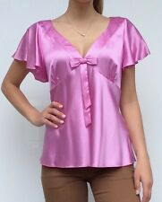 Howard Showers ladies vibrant pink silk summer blouse top, size 12-14