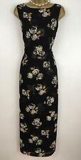 LAURA ASHLEY Vintage Dress Black Floral Silk Slim Fit Lined Long Size 16 PETITE