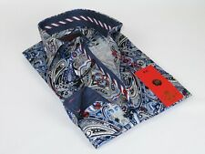 Men Axxess Egyptian Cotton wrinkle resistant Shirt European 319-04 Blue Paisley
