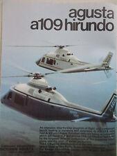 9/1973 PUB HELICOPTERE AGUSTA A109 HIRUNDO HUBSCHRAUBER ORIGINAL AD