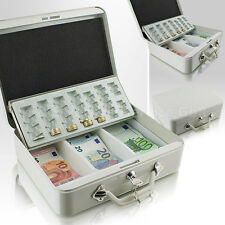Geldkassette 30 cm groß, flach abschließbar Geldkoffer Transport Zählbrett Grau