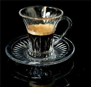 Glass 12 Set of 6 Cups/ 6 Sauces Tea Coffee Espresso Serving
