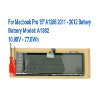 """New A1382 Laptop Battery For Macbook Pro 15"""" A1286 10.95V 77.5Wh 2011 2012"""
