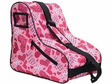 Spacious Rollerblade Skate Bag for Girls w/ Adorable Heart Design & Side Pocket