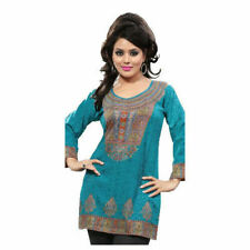Printed Design 3/4 Sleeves women Crape Kurti Tunic tops With Gold Foil. 1901-34