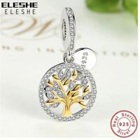 CHARM BEAD 925 Sterling Silver Authentic  Gold Family Tree Crystal Charms Beads