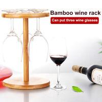 Bamboo 3 Stem Wine Glass Holder Countertop Rack 25 x 17cm