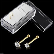 Nose Studs Bones Genuine 9k Carat Gold Square Claw Set Gem 1.5mm and 2mm 22g