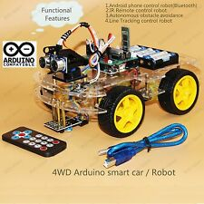 4WD Arduino Smart Car   Robot Starter Kit - Programmable Robot (Style one)