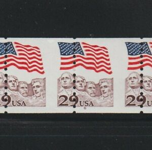 US EFO, ERROR Stamps: #2523 Flag, Rushmore Perf shift PS5 #6, PNC. MNH