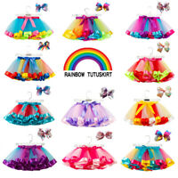 1920's Tutu Girls Kids Rainbow Skirt Fluffy Dance Party Dress Lavender Petticoat