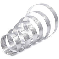 6 Pack Perforated Tart Rings Set,Stainless Steel Heat-Resistant Cake Mousse H2F1