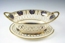 Antique English Porcelain Reticulated Basket and Tray Cobalt Blue with Gold 1800