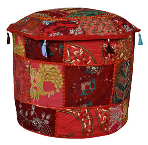 """18"""" Bohemian Embroidered Patchwork Cotton Footstool Indian Ottoman Pouffe Cover"""