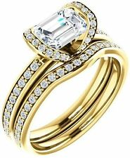 1.30 ct Emerald & round cut Diamond Engagement Vintage 14k Yellow Gold Ring SI1