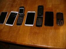 Lot of 7 Used Smart Phones & Flip Phones Samsung Motorola Nokia Virgin
