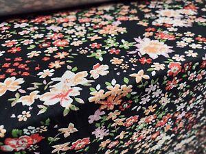 Viscose Elastane Stretch Jersey Fabric, Per Metre - Black, Small Flowers Print