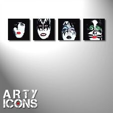 SET OF 4 AWESOME KISS PAINTINGS ON BLOCK CANVAS. 100% HAND PAINTED. GENE SIMMONS