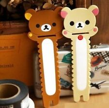 FD4909 Beige Rilakkuma Relax Bear Earphone Cable Bobbin Winder Holder 1pc