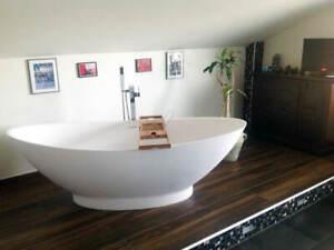 Freistehende Badewanne Mineralguss, weiss matt, 188x84 mit Siphon & Ablauf
