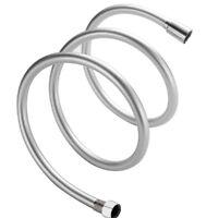 Smooth Silver PVC Long Flexible Shower Hose Brass Connectors 1.5m Standard Bore