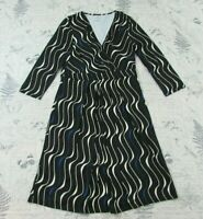NWOT NEW Talbots Knit Faux Wrap Swirl Dress Black White Blue 3/4 slv stretch 12