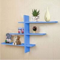 7pcs T-Shape Floating Wall Shelves Display Storage Shelf Wall Wood Rack Unit