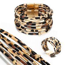 Multilayer Womens Jewellery Leopard Print Boho Wrap Bracelet Magnetic Cuff