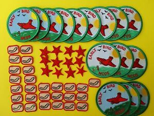 54 NEW Girl Scout FUN PATCHES - Early Bird, Worms, Red Stars  no dates