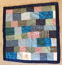 Vintage Handmade Quilt Girl's Throw Blanket GUC Kid Baby Crib Lap Blanket Blue