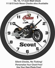 2019 INDIAN SCOUT MOTORCYCLE WALL CLOCK-HARLEY DAVIDSON, HONDA, TRIUMPH