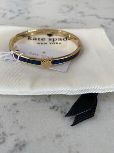 Genuine Kate Spade Navy Blue Heart Enamel Hinged Bangle Bracelet