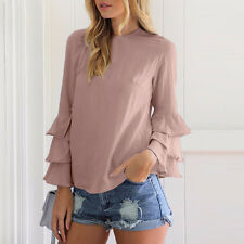 Fashion Womens Ladies Summer Long Sleeve Casual Blouse Loose Cotton Tops T-Shirt