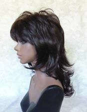 "16"" Long Dark Brown Feathery Shag Classic Cap Full Synthetic Wig - #57"