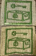 1928-1933 Girl Scout Badge 2 TREASURER - GREY GREEN SQUARE - BOTH TYPES