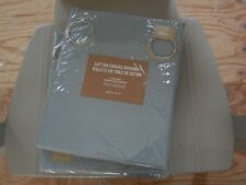 "New West Elm Cotton Canvas Grommet Drape Panels 48"" x 84"" Set of 2 Mist Blue"