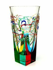 Murano Glass Signed By Glass Maker Luxurious Italian Art Glass Studio Vase